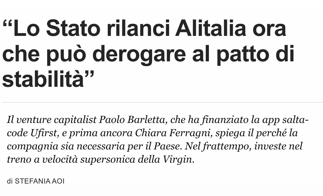 """""""Lo Stato rilanci Alitalia ora che può derogare al patto di stabilità"""""""